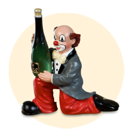 Party Clown Flasche am Knie