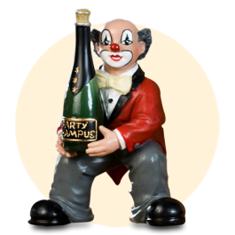 Party Clown Flasche in Händen