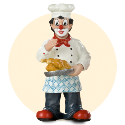 Koch mit Grillhändl