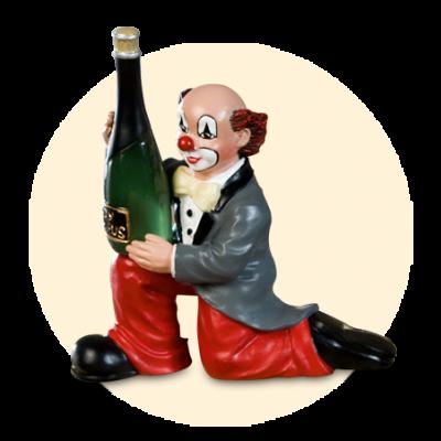 Party Clown Flasche am Knie