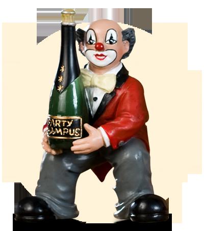 Party Clown Flasche in Händen