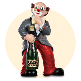De party-clown, grijze jas