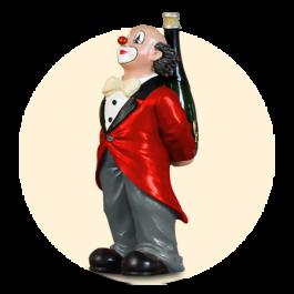 De party-clown, rode jas