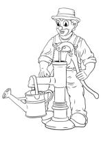 Malvorlage - An der Pumpe